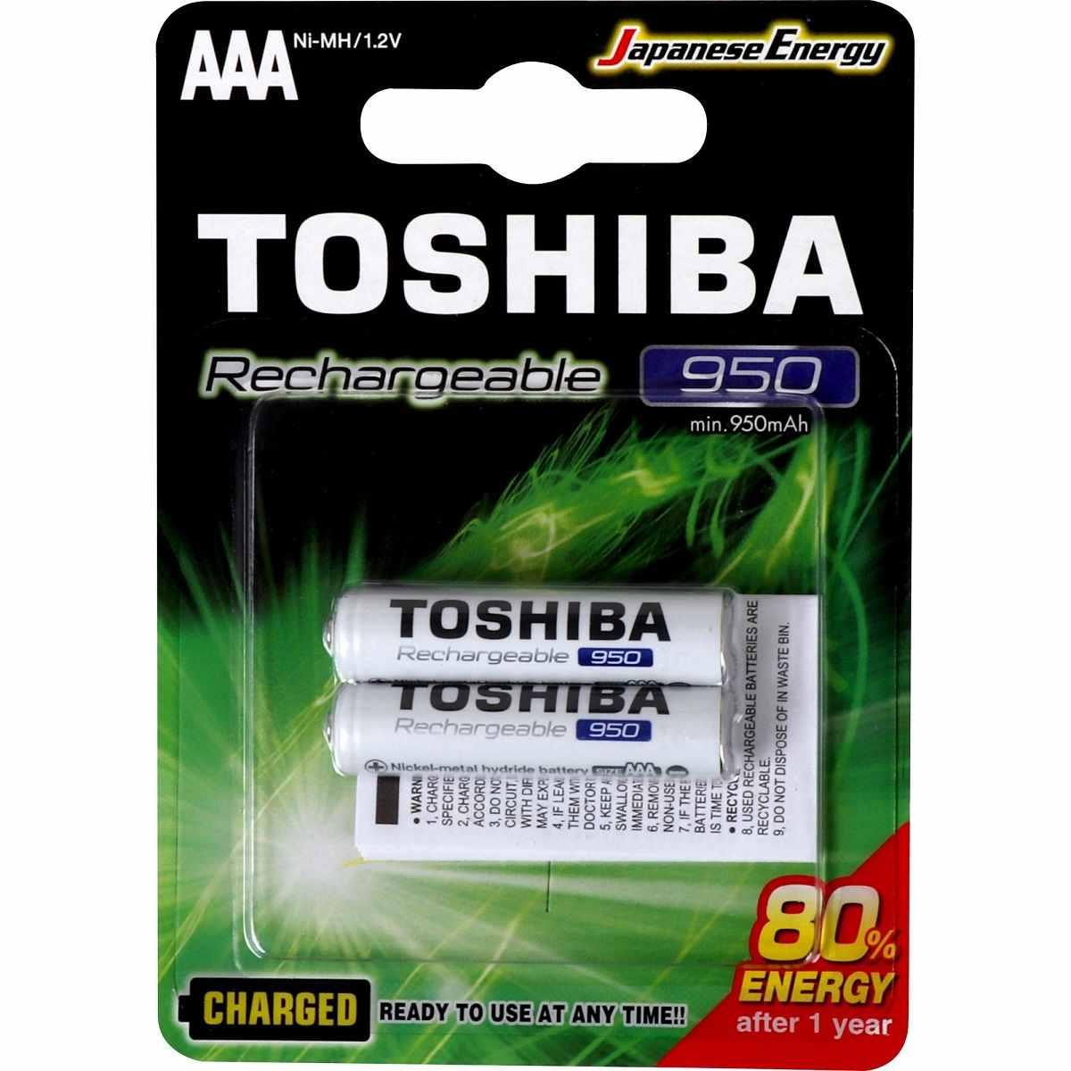 Pilha Palito Recarregável AAA 1,2V 950mAh TNH3GAE Toshiba Cartela c/ 2un