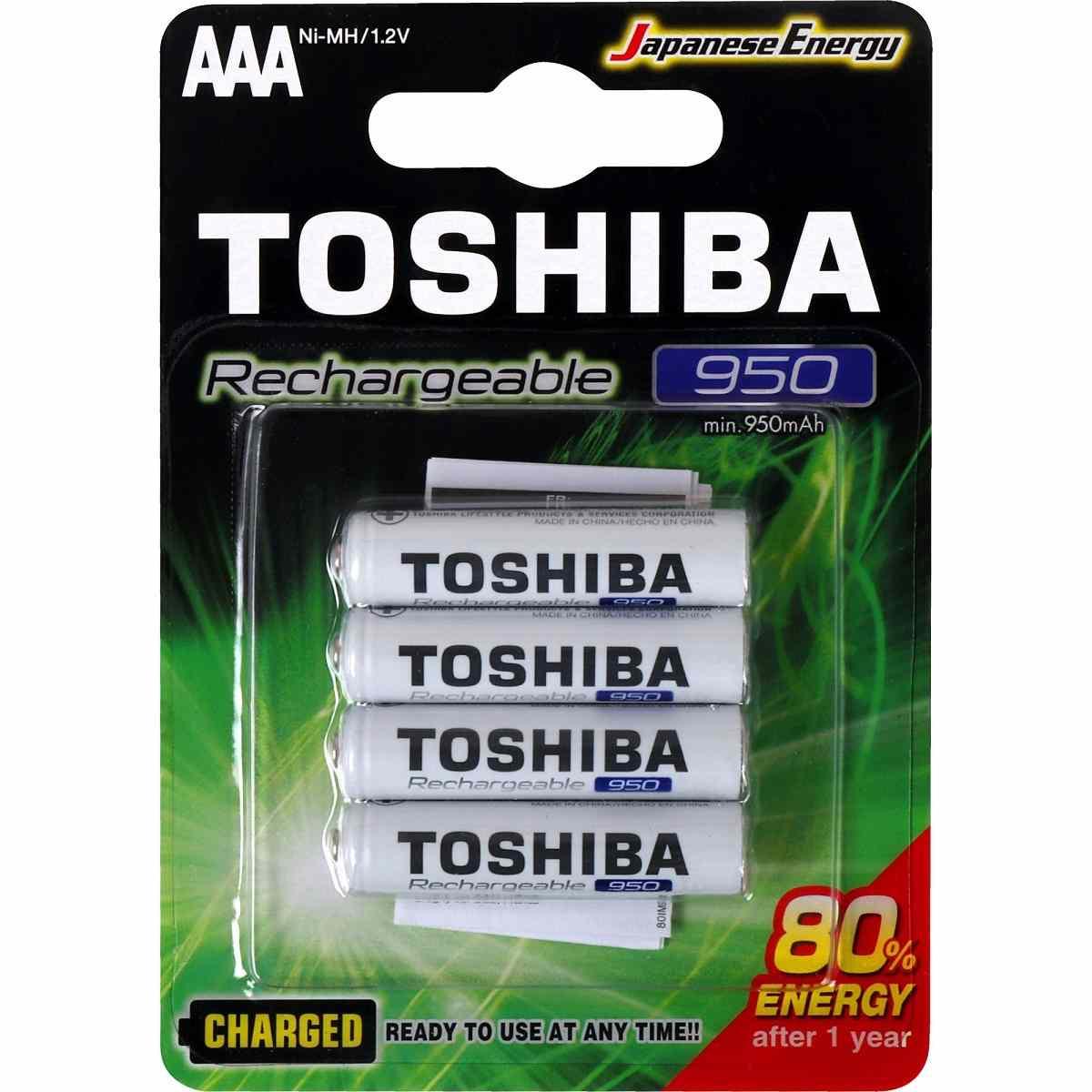 Pilha Palito Recarregável AAA 1,2V 950mAh TNH3GAE Toshiba Cartela c/ 4 un