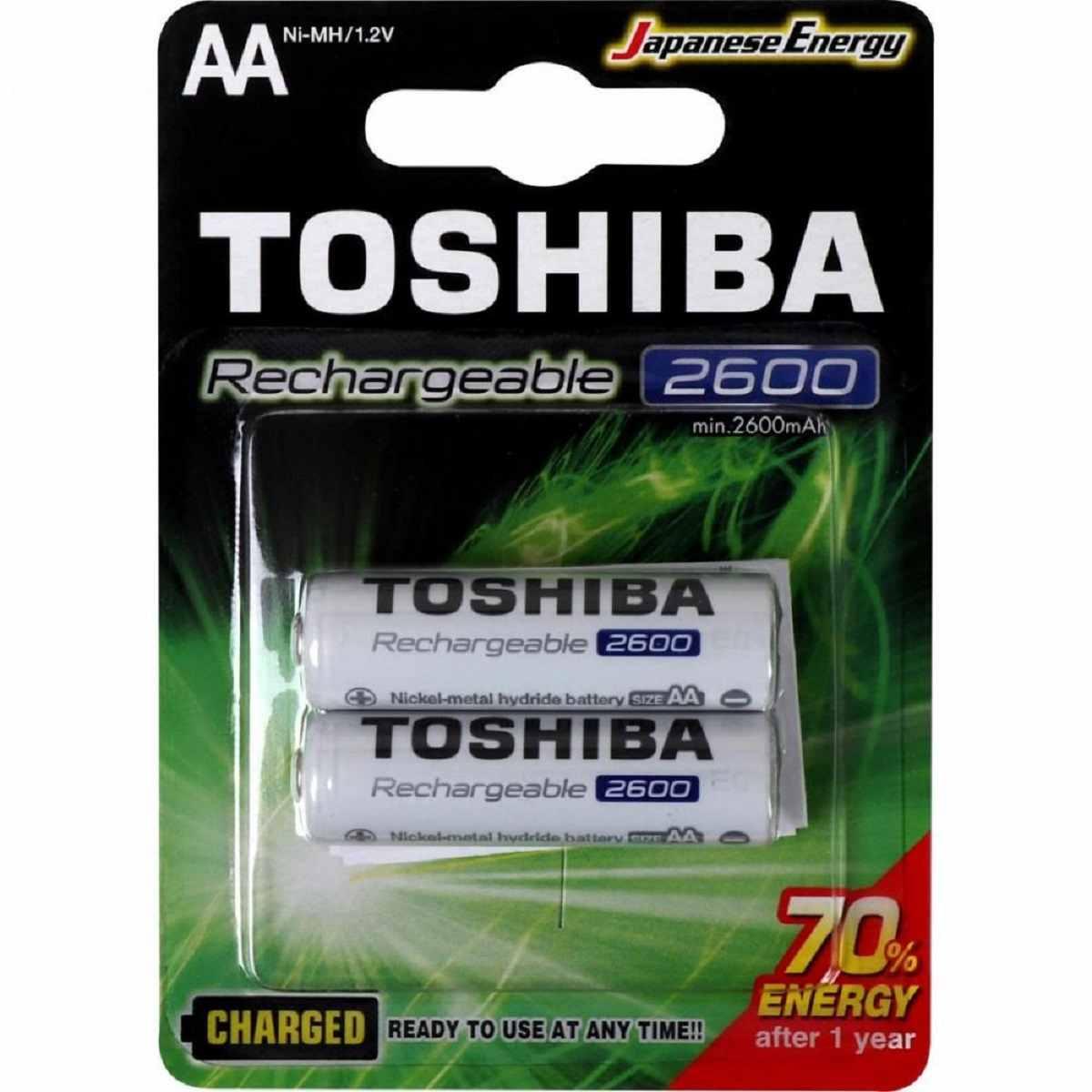 Pilha Recarregável AA 1,2V 2600mAh TNH6GAE TOSHIBA Cartela c/2 un