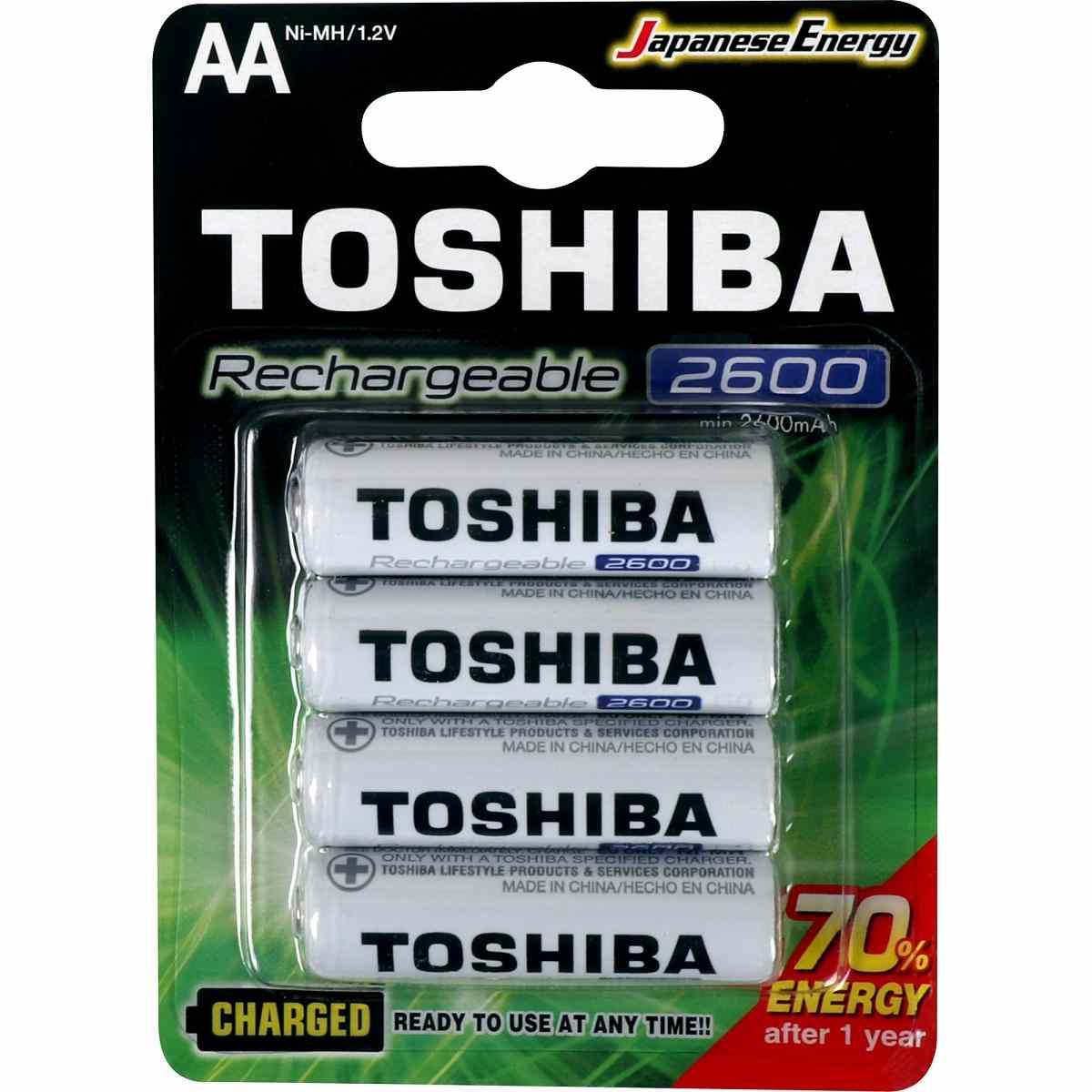 Pilha Recarregável AA 1,2V 2600mAh TNH6GAE Toshiba Cartela c/4 un
