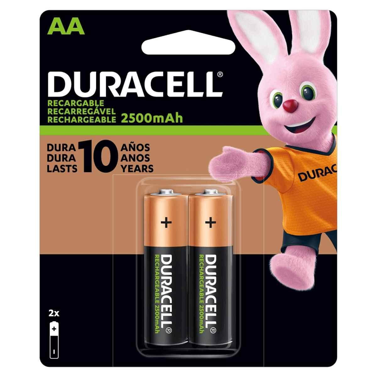 Pilha Recarregável AA 2500-mAh Cartela c/2 pilhas Duracell