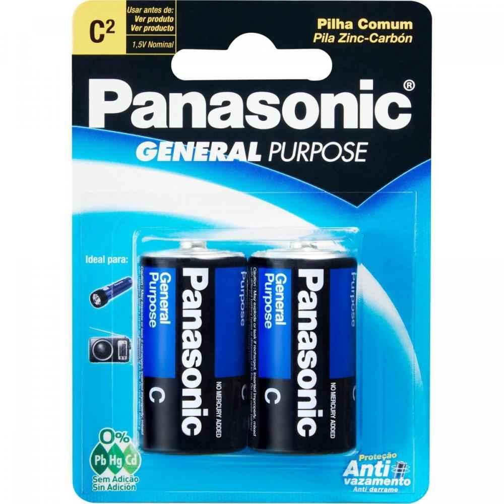 Pilha Zinco C 1,5V UM2SHSP128 Panasonic Cartela com 2 Unidades