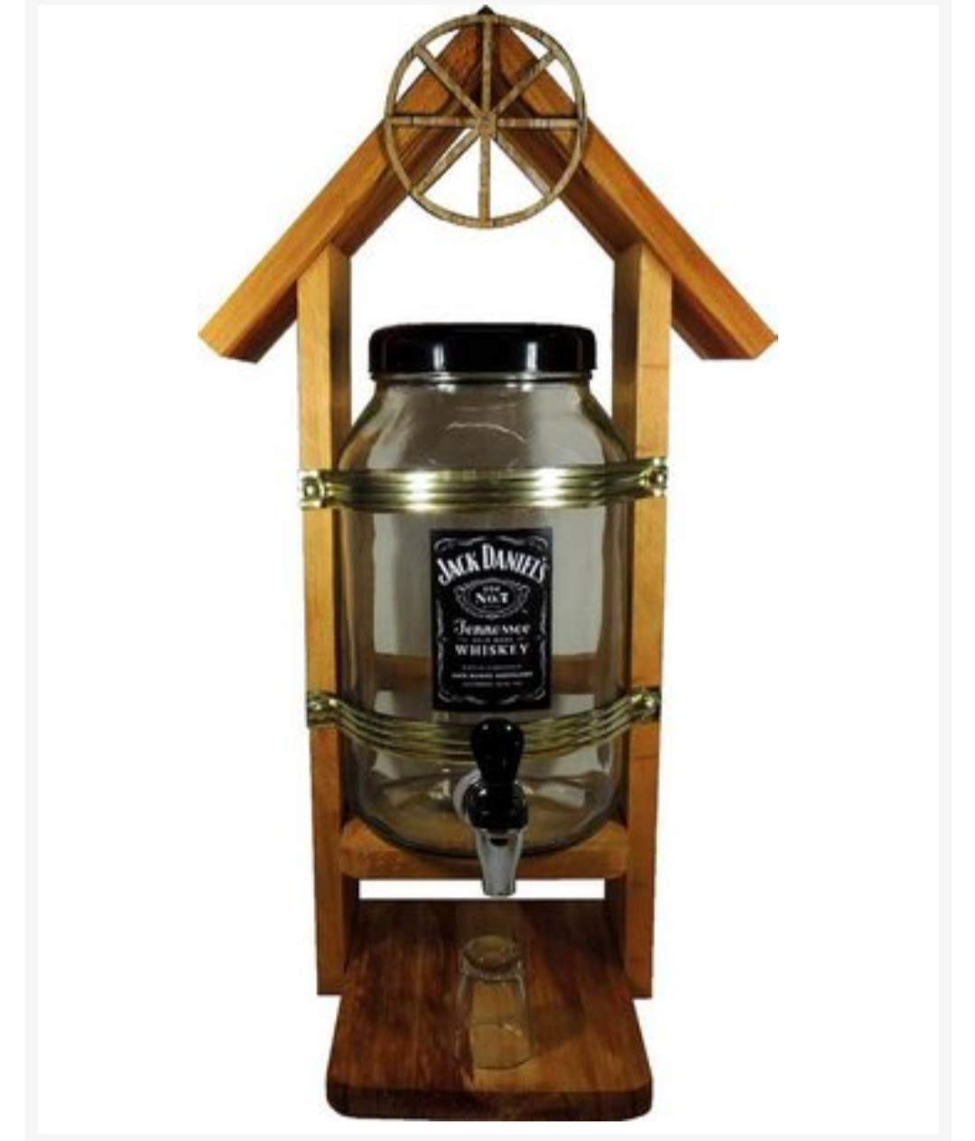 Pingometro Cachaça Artesanal Casinha Madeira Vidro 2L Jack Daniels