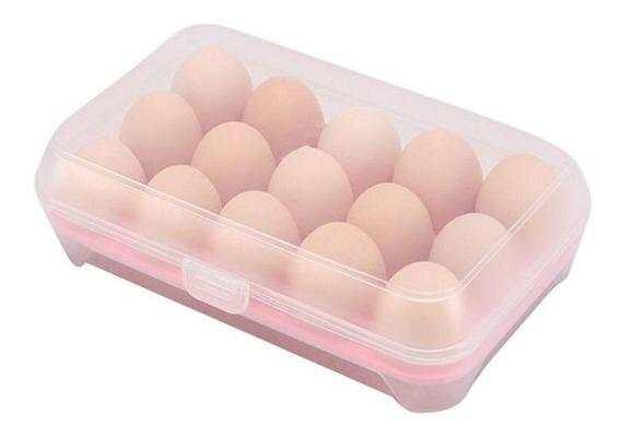 Porta Ovos de Plástico Retangular Com Tampa Acomoda 15 Ovos Keita