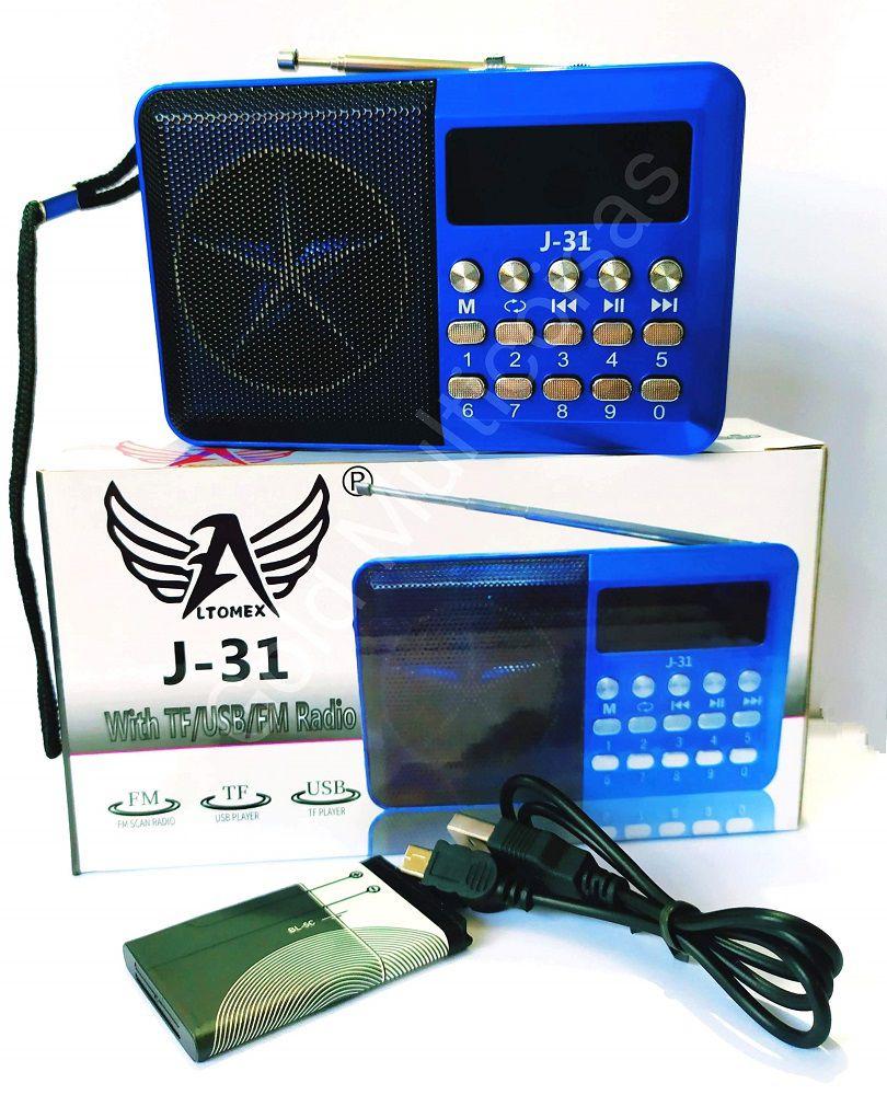 Rádio Digital De Bolso Portátil FM TF USB Hora Recarregável J-31 Altomex Azul