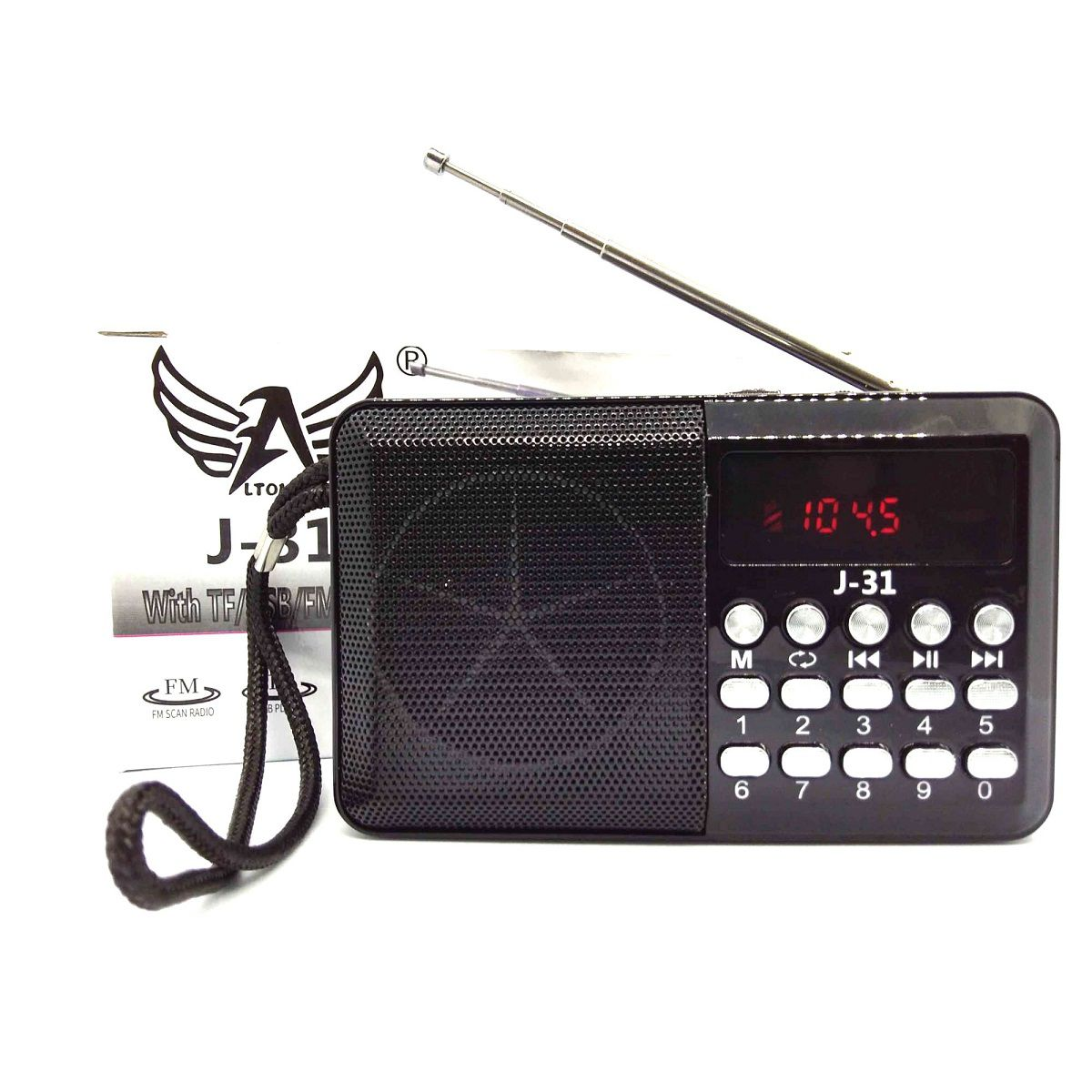 Rádio Digital De Bolso Portátil FM TF USB Hora Recarregável J-31 Altomex Preto