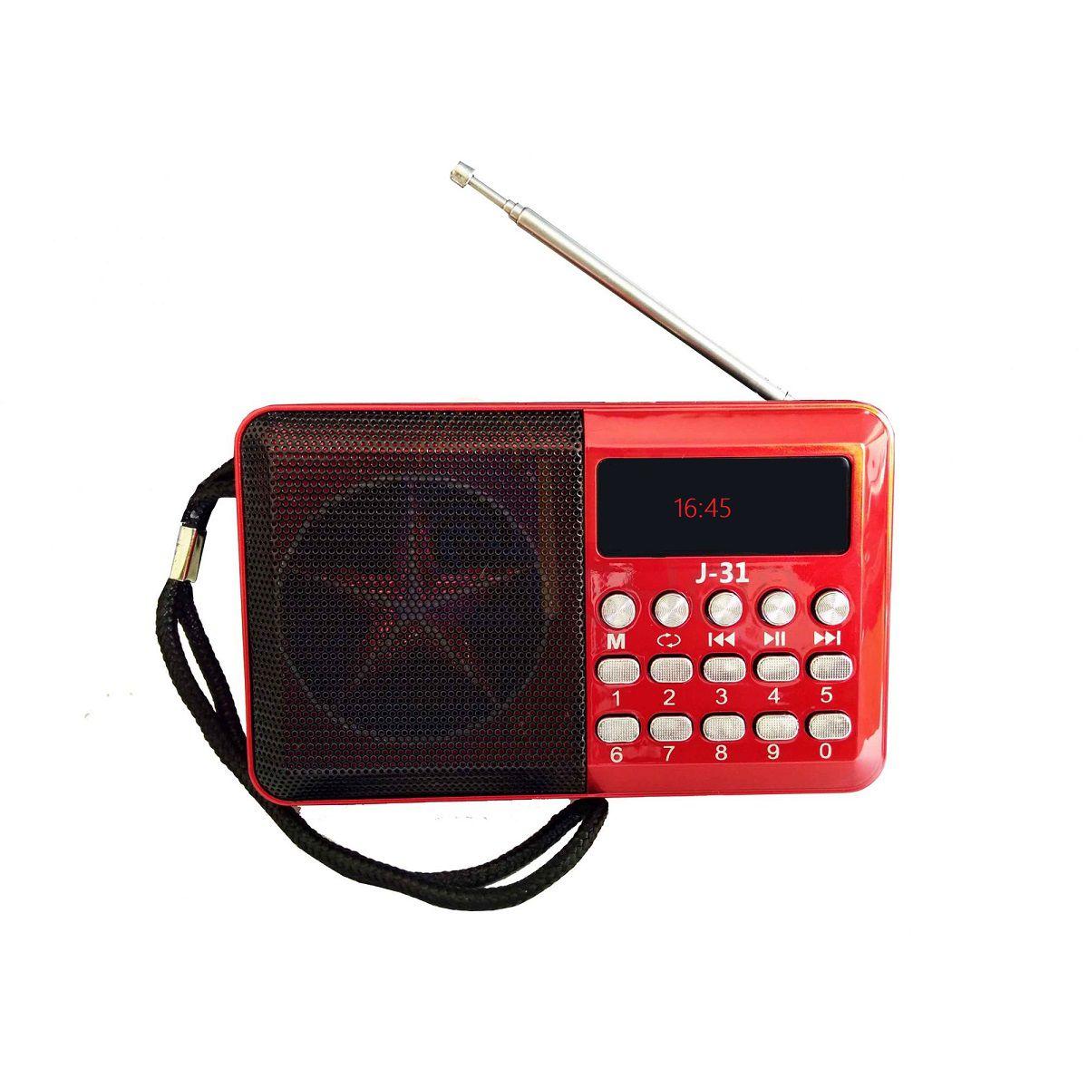 Rádio Digital De Bolso Portátil FM TF USB Hora Recarregável J-31 Altomex Vermelho
