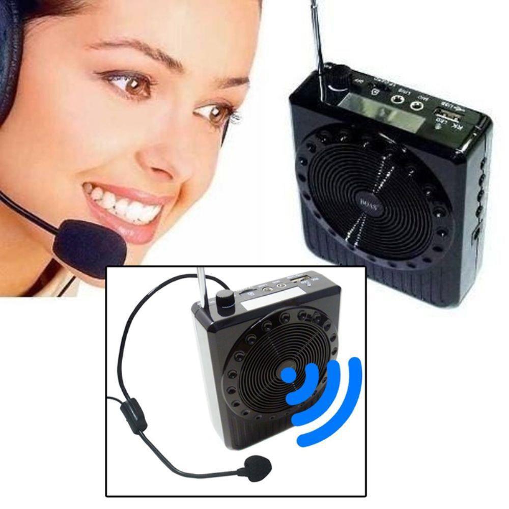 Rádio Megaphone Speaker Multifunções K150 Usb Fm Para Palestras Professores