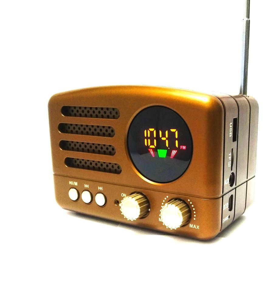 Rádio Portátil Clássico Retrô Recarregável Fm Mp3 Micro sd Bluetooth Usb Lelong Le-662