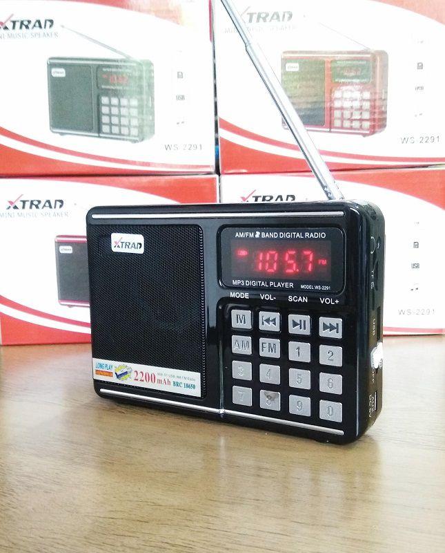 Rádio Portátil Mp3 Am/fm Com Entrada Usb E Cartão Sd Xtrad Ws-2291