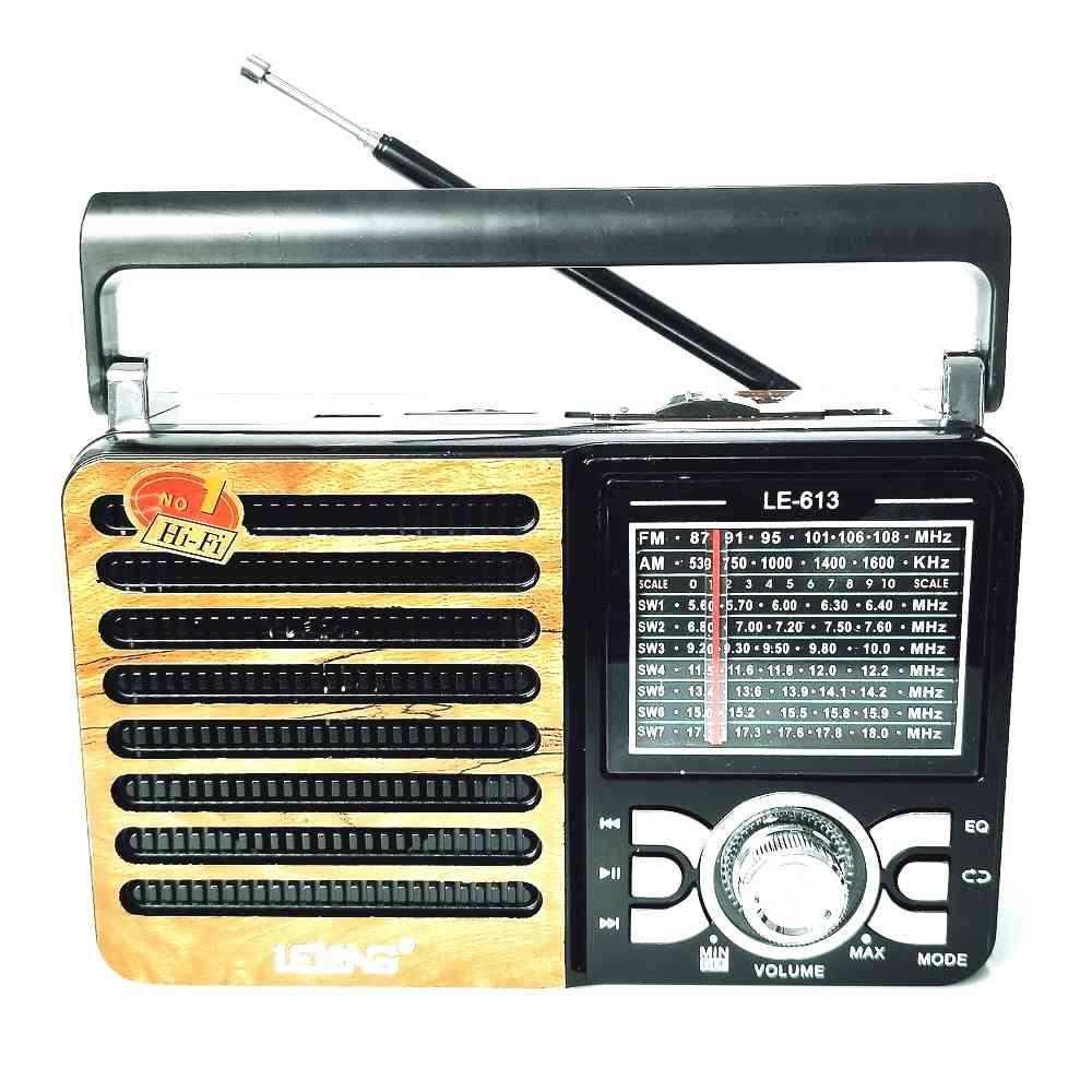 Rádio Portátil Retro Marrom Usb Sd Peandrive Am/Fm/Sw Lelong Le-613 Bivolt