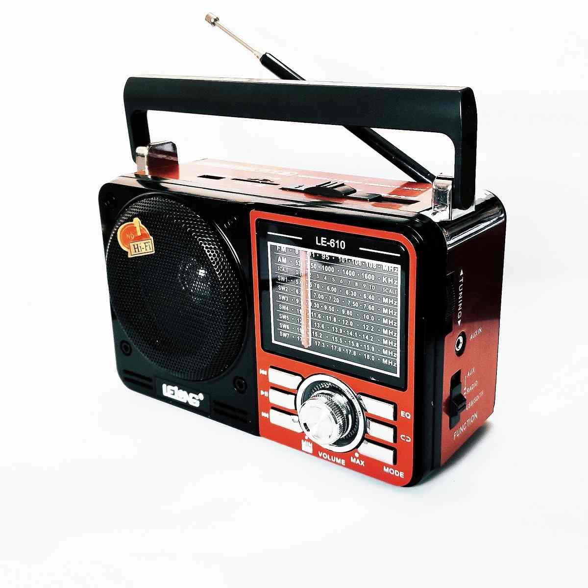 Rádio Portátil Retro Usb Sd Peandrive Am/Fm/Sw Lelong Le-610 Bivolt