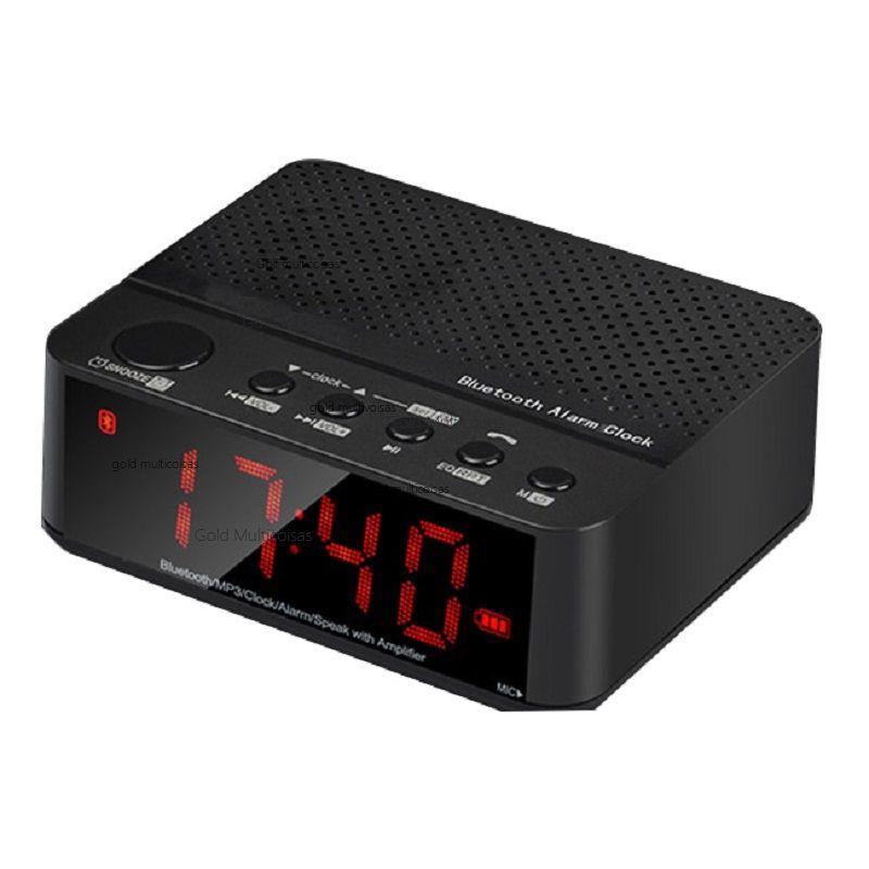 Rádio Relógio Despertador Digital De Mesa Fm Bluetooth Tf Lelong LE-674 Preto