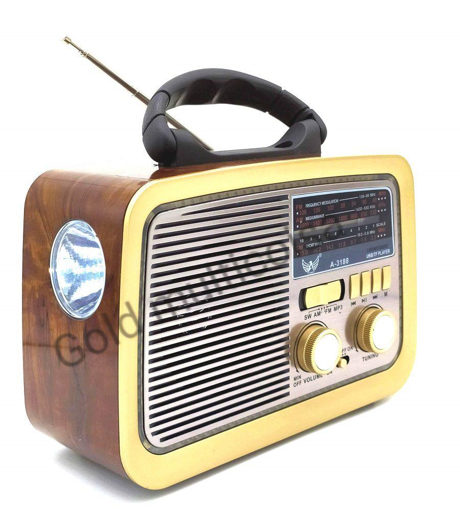 Radio Retro Clássico Am Fm Entrada Usb Sd Aux Pendrive E Lanterna 3188BT