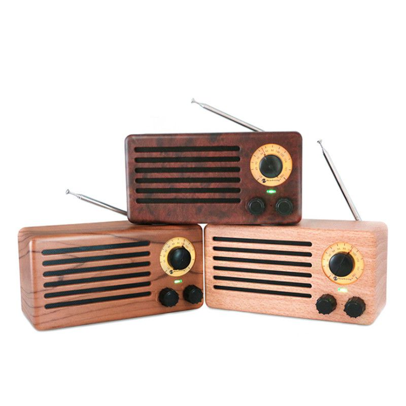 Rádio Retro Vintage Textura De Madeira Portátil Fm Usb Sd Sem Fio Bluetooth