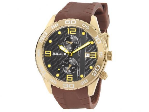 Relógio Analógico Magnum Racing Dourado Masculino De Pulso Pulseira De Silicone Marrom Ma34898m