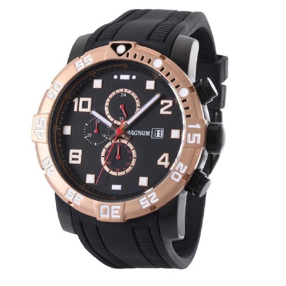 Relógio Analógico Magnum Racing Masculino De Pulso Pulseira De Silicone Preta Ma34174D