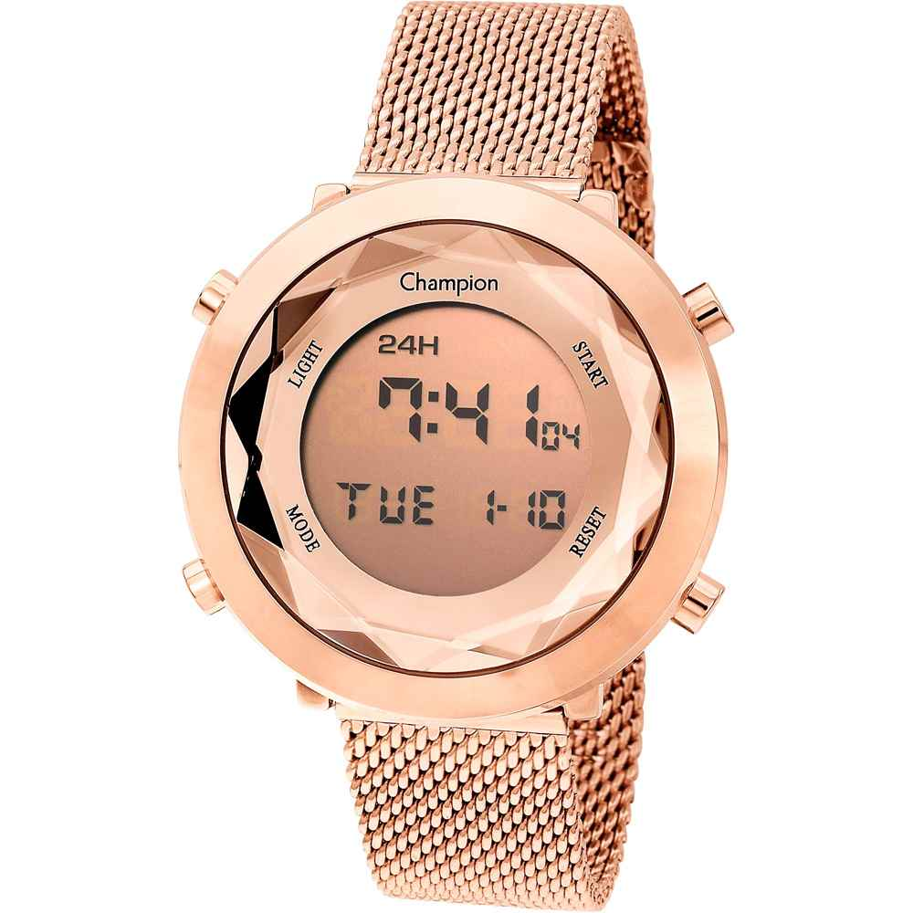 Relógio Champion Digital Feminino Rosê Pulseira De Metal Milanese CH48028X