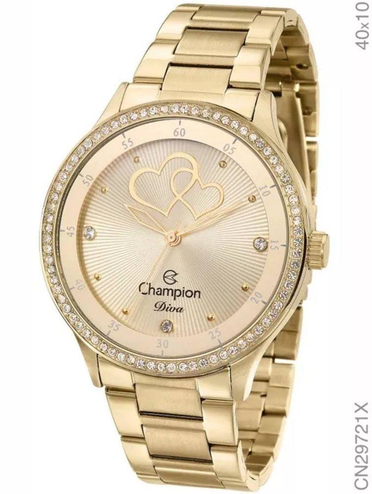 Relógio Champion Diva Feminino Dourado Cn29721x