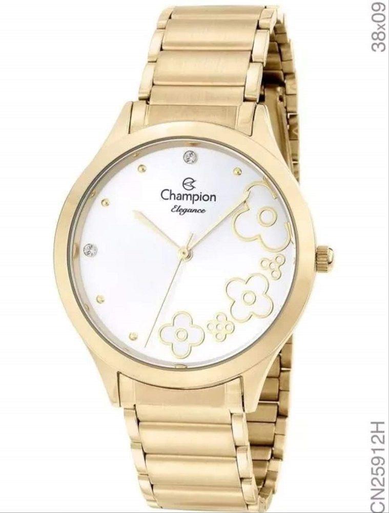 Relógio Champion Feminino Analógico Dourado Elegance Flor Cn25912h