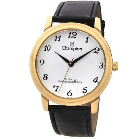 Relógio Champion Feminino Analógico Dourado Pulseira Preta Couro  Ch22153m