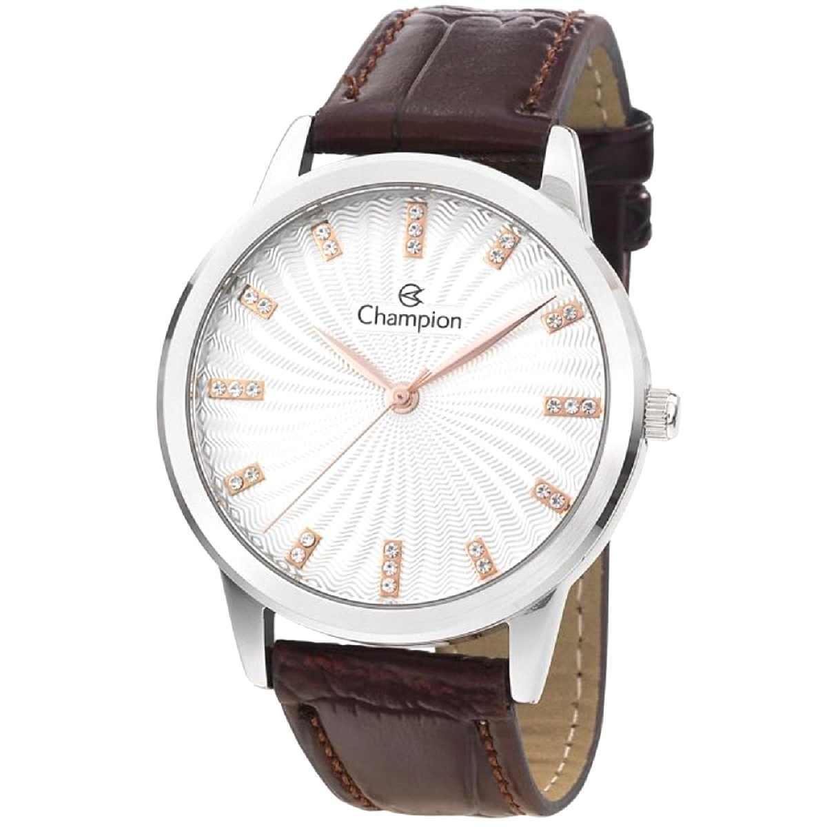 Relógio Champion Feminino Prateado/Marrom CN28286Q