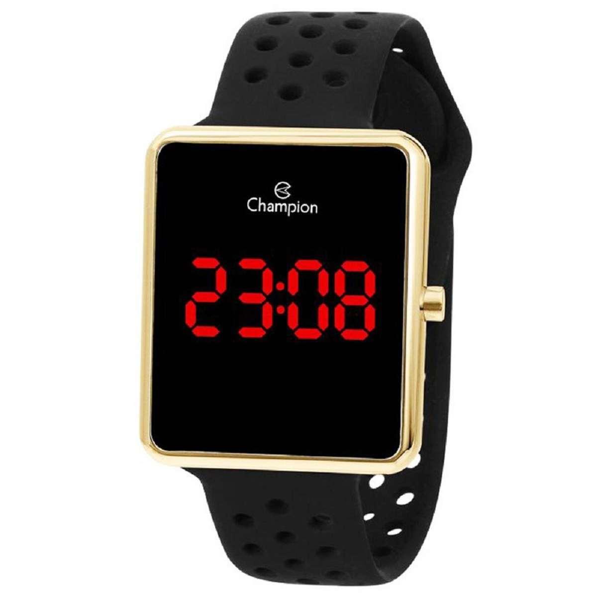 Relógio Champion Feminino Digital Quadrado Dourado Pulseira Silicone Preto CH40081V