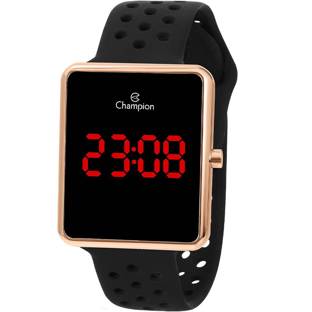 Relógio Champion Feminino Digital Quadrado Rosê Pulseira Silicone Preto CH40081P