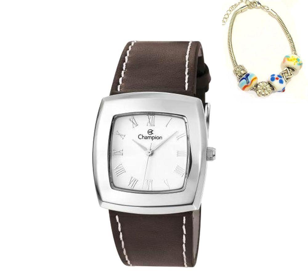 Relógio Champion Feminino Quadrado Pulseira De Couro Marrom CH25650Y + Pulseira