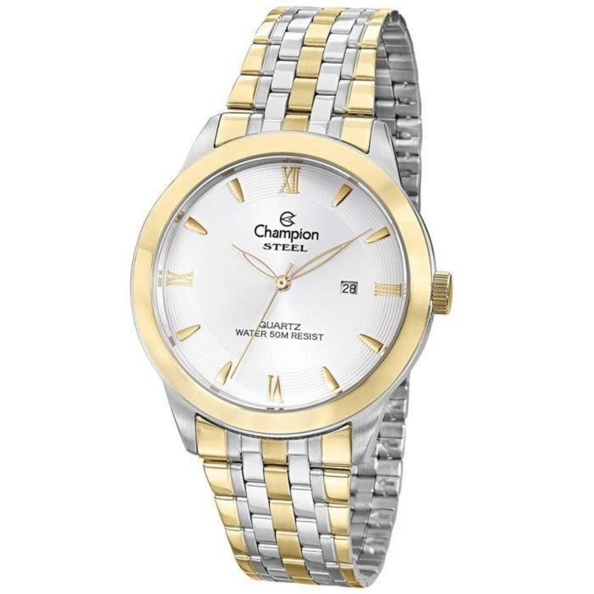 Relógio Champion Masculino Steel Dourado/Prateado CA21599S