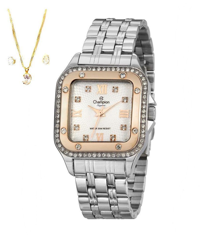 Relógio Champion Prata Feminino Quadrado + Semi Joia Cn27321y