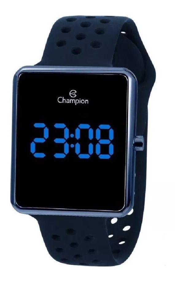 Relógio Champion Unissex Digital Led Azul Caixa Azul Pulseira Azul CH40081A