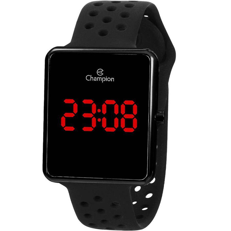 Relógio Champion Unissex Digital Led Vermelho Caixa Preta Pulseira Preta CH40081D
