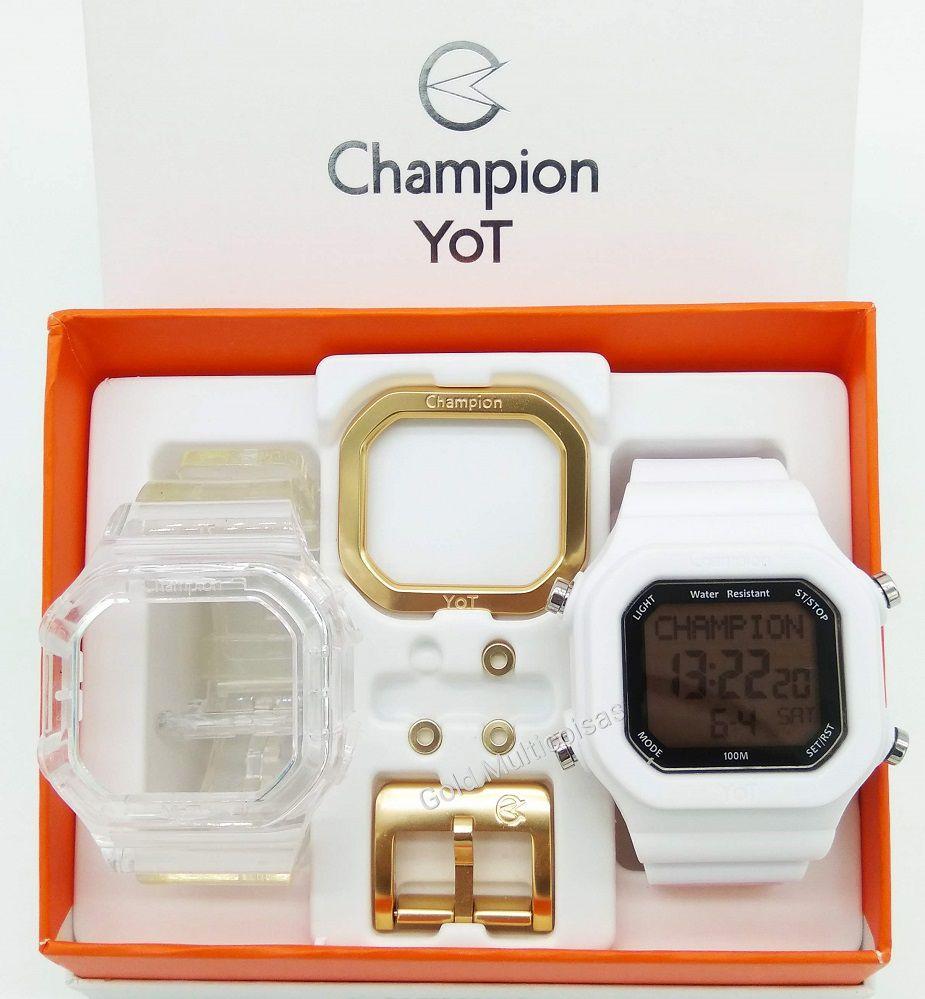 Relógio Champion Yot Unissex Troca Pulseira Branco E Transparente CP40180X-81425