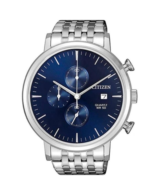 Relógio Citizen Masculino Cronógrafo Prateado Fundo Azul TZ20751F