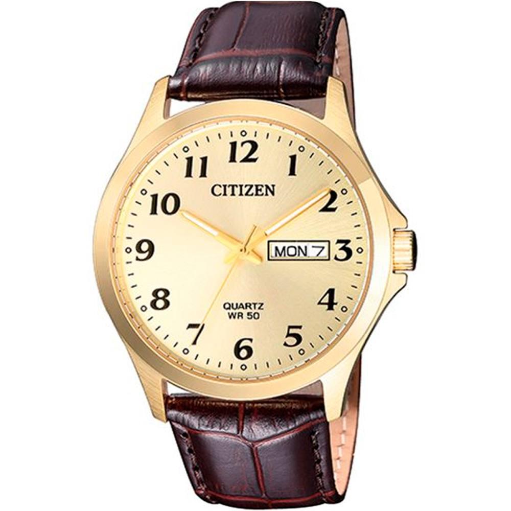 Relógio Citizen Masculino Dourado Pulseira De Couro Marrom TZ20813X