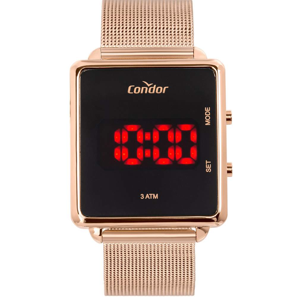 Relógio Condor Feminino Digital Rose Pulseira Milanese COJHS31BAB/4J