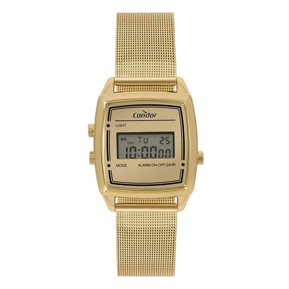 Relógio Condor Feminino Vintage Digital Dourado Pulseira Milanese  COJH512AE/4D