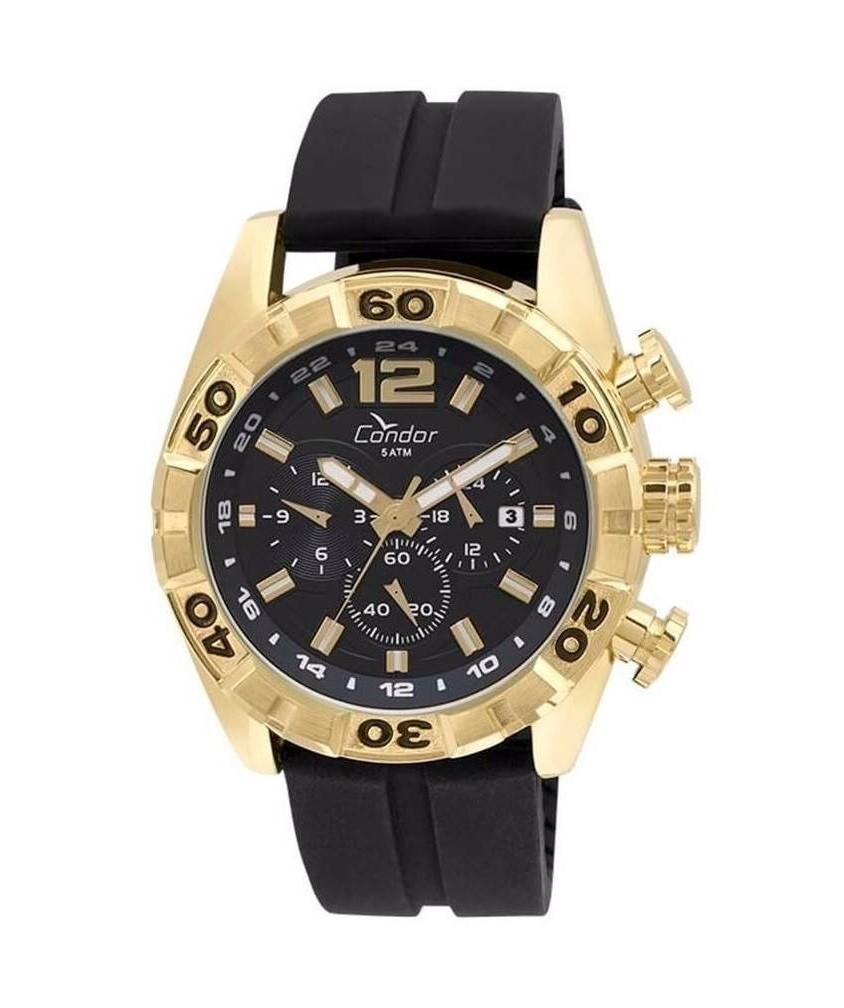 Relógio Condor Masculino Cronógrafo Dourado Pulseia Silicone COVD33AV/8P