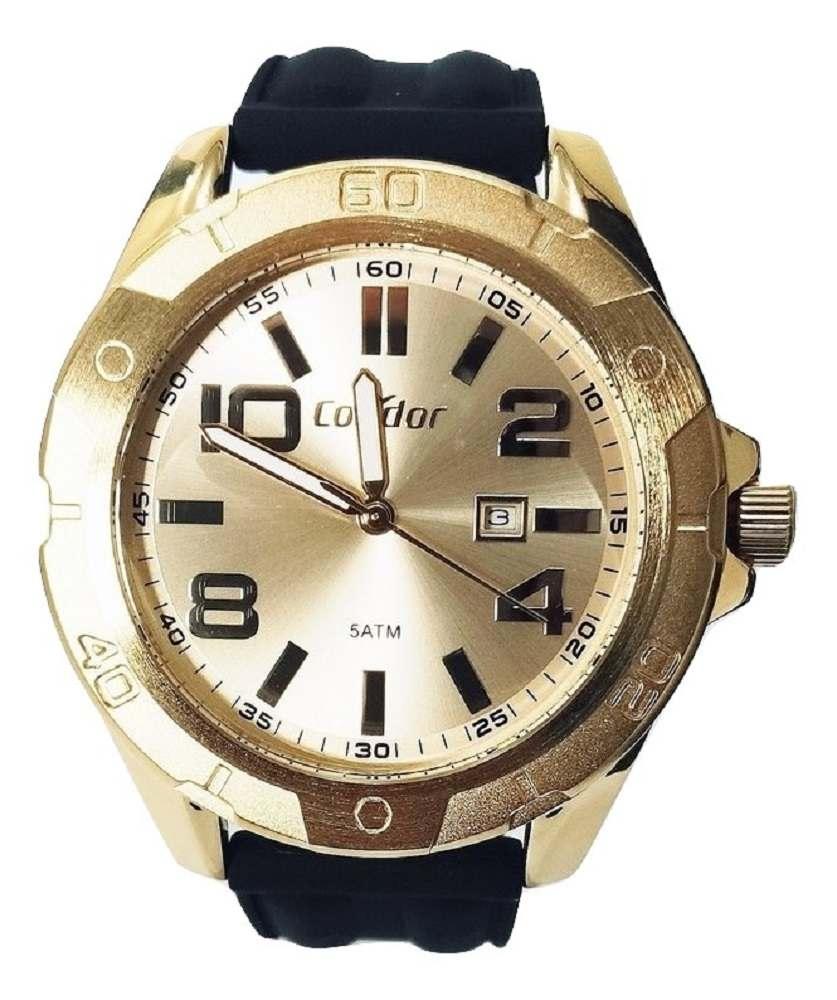 Relógio Condor Masculino Dourado Pulseia Silicone CO2115KUT/2D