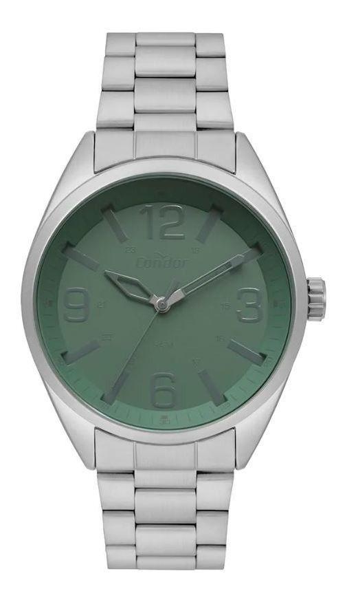 Relógio Condor Masculino Prata Fundo Verde  CO2035MPM/K3V
