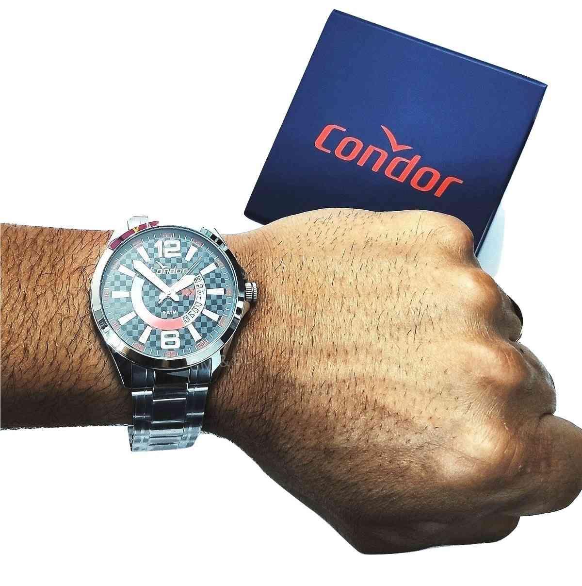 Relógio Condor Masculino Prateado Calendário CO2115VB/3B