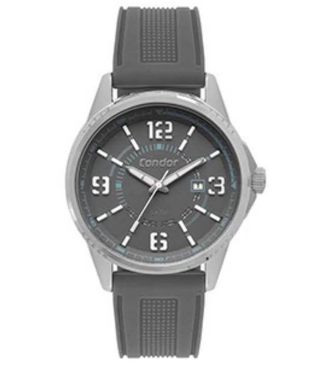 Relógio Condor Masculino Pulseia Silicone  Cinza Calendário CO2115KVK/3C