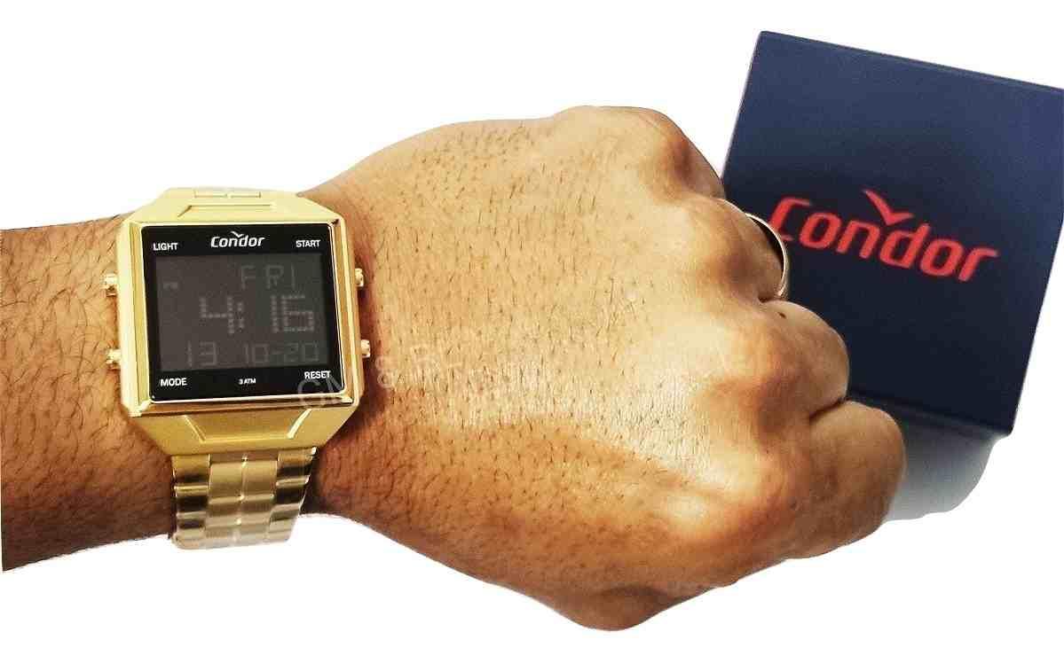 Relógio Condor Quadrado Digital Masculino Dourado COBJ2649AE/4D