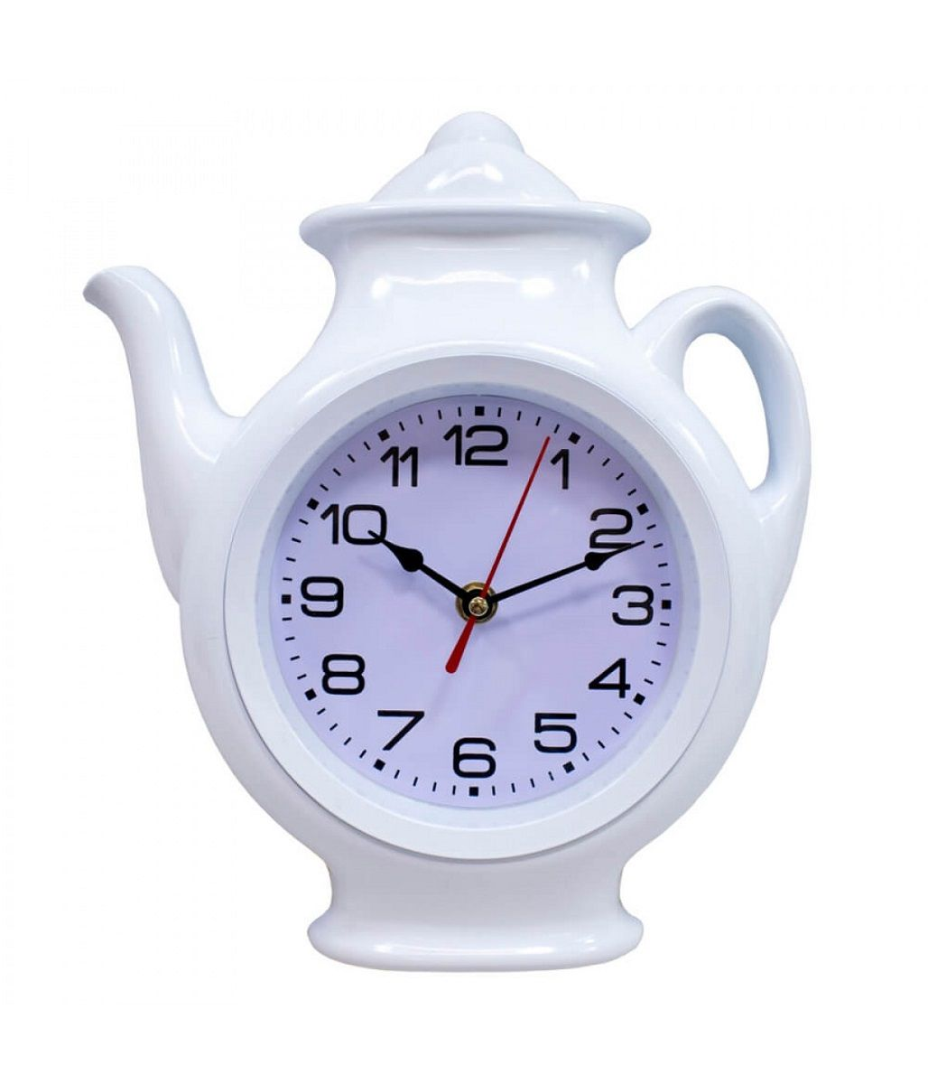 Relógio De Parede Analógico  Branco Bule 29x24.5cm