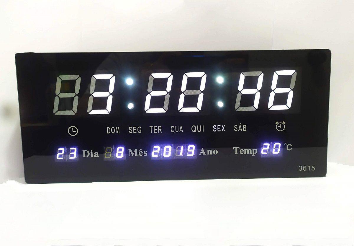 Relógio De Parede Digital Led Branco Grande Data Mês e Ano Temperatura Dia Da Semana Despertador