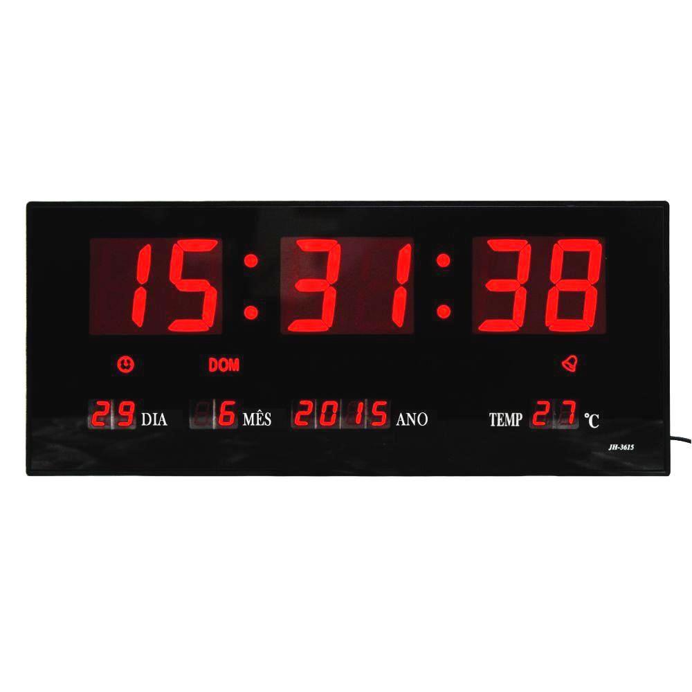 Relógio De Parede Digital Led Grande Com Data Mês e Ano Temperatura Dia Da Semana Despertador