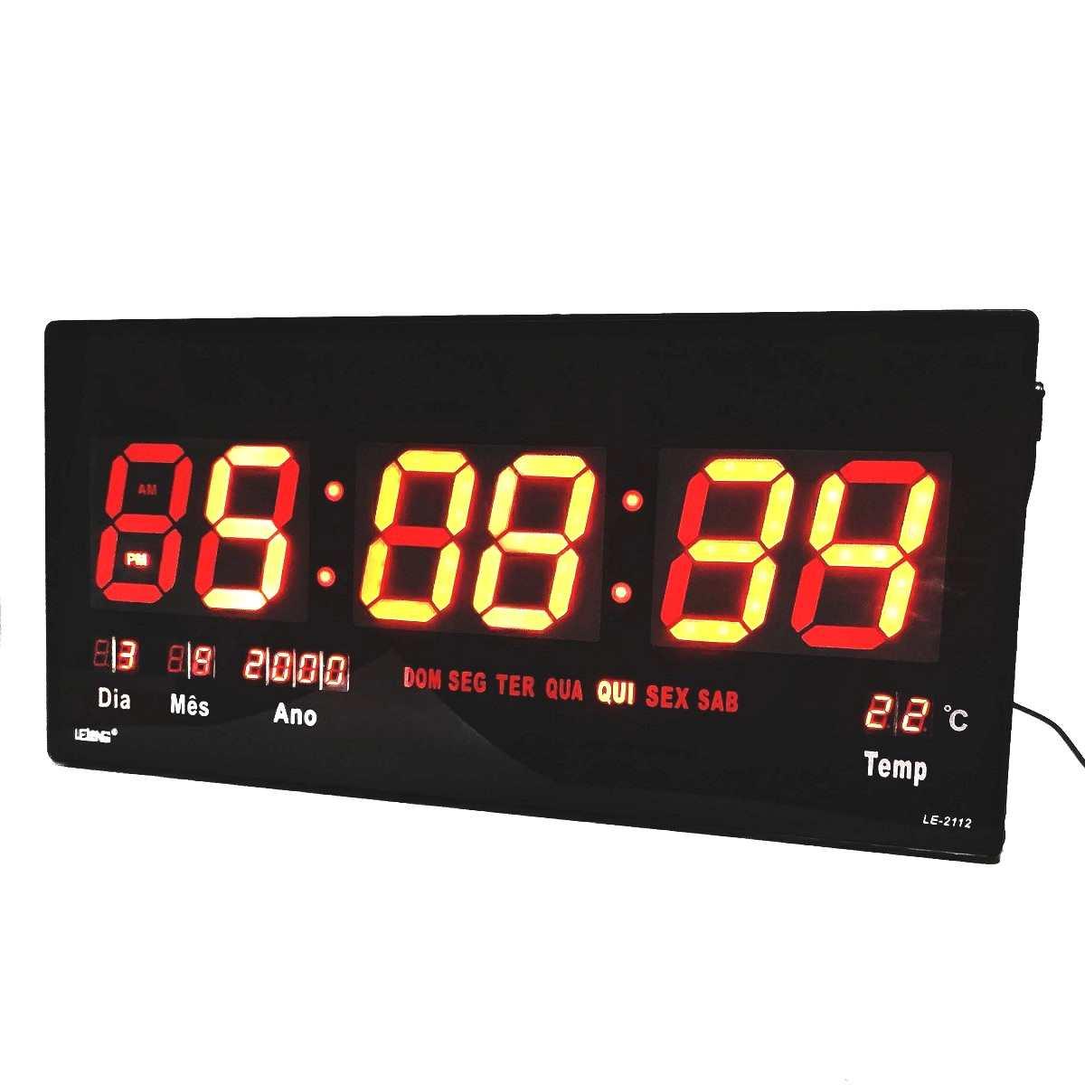 Relógio De Parede Digital Led Grande Data Temperatura Despertador Lelong-Le-2112