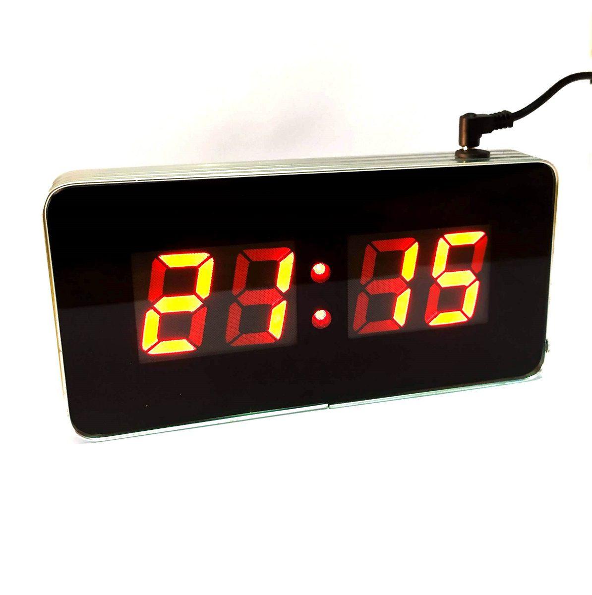 Relógio De Parede Médio Digital Led Hora Luatek Lk-1018