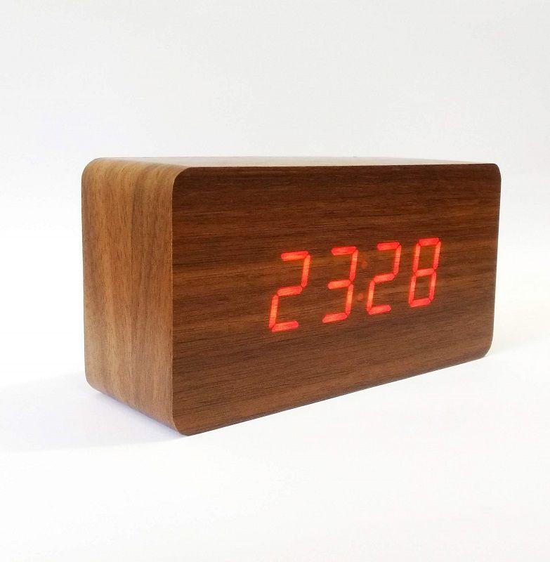 Relógio Despertado De Mesa Hora Temperatura Tipo Madeira Jiaxi JH-1295